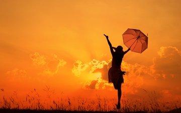 девушка, настроение, зонтик, после дождя
