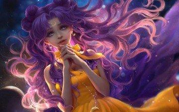 the sky, art, girl, anime, a month, chain, luna, sunmomo, bishoujo senshi sailor moon
