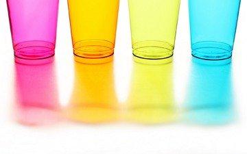 желтый, отражение, синий, цвет, оранжевый, розовый, посуда, стаканы, cтекло