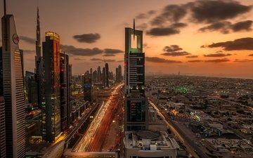 огни, вечер, закат, город, небоскребы, дома, движение, фотограф, дороги, здания, дубаи, выдержка, дубай, оаэ, автомагистраль имени шейха заеда, dany eid