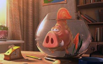 aquarium, fish, the trick, pig, piranha, mutant