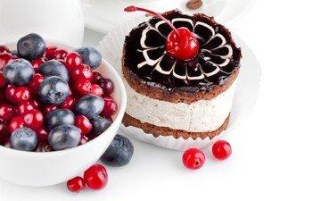 ягоды, черника, сладкое, десерт, пирожное, вишенка, клюква