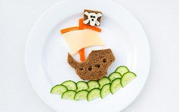 креатив, сыр, хлеб, завтрак, тарелка, кораблик, перец, огурец