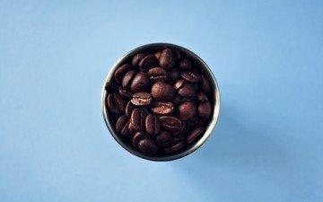 фон, синий, зерна, кофе, минимализм, кофейные