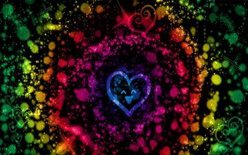 арт, абстракция, фон, звезды, цвет, разноцветный, пятна, круги, сердечки