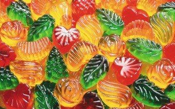 разноцветные, конфеты, красные, зеленые, фигурки, желтые, желе, мармелад, сладкие