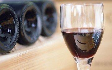 бокал, вино, стекло, бутылки, красное