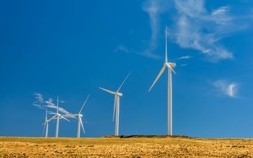 clouds, field, windmill, blue sky, wind turbine