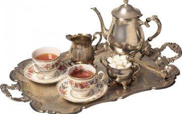 белый фон, чай, посуда, серебро, чайник, чашки, сахар, поднос, сервиз, чайный, сахарница