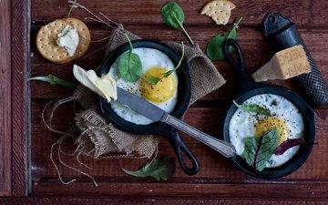 зелень, сыр, масло, завтрак, яйца, нож, печенье, натюрморт, крекеры, яичница, anna verdina