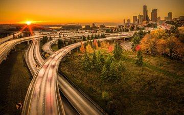 закат, города, мост, город, вашингтон, сша, сиэтл