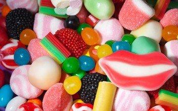 разноцветные, конфеты, сладкое, зефир, мармелад, маршмеллоу