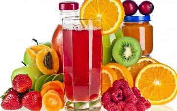 малина, фрукты, яблоки, апельсины, клубника, ягоды, киви, абрикосы, сок, бутылочки
