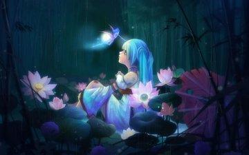 flowers, art, forest, bamboo, girl, fairy, rain, lotus, sitting