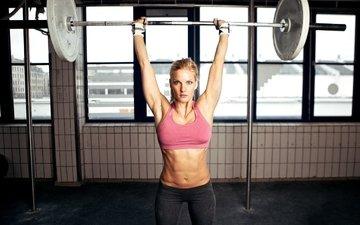 девушка, фитнес, штанга, тренировки, тяжелая атлетика, силовые