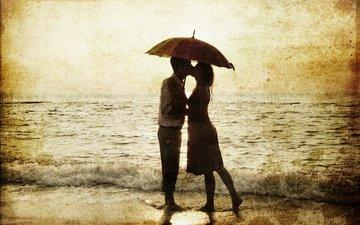 море, силуэты, дождь, любовь, романтика, зонт, мужчина, женщина