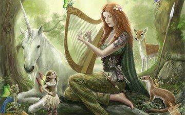 арт, лес, девушка, музыка, фея, рюкзак, единорог, звери, копье, арфа, косуля