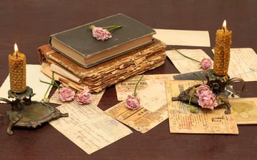 flowers, candles, vintage, retro, roses, paper, books, letters
