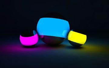 light, neon, balls, background, color, graphics, sphere