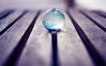доски, пол, шар, стекло, стеклянный, шарик макро