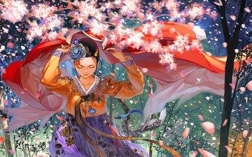 flowers, art, nature, girl, petals, anime, sakura, braid, kimono, justminor