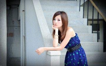 лестница, грусть, иероглифы, печаль, японка, азиатка, mikako zhang kaijie