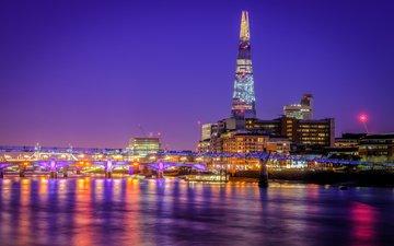 небо, ночь, огни, река, лондон, темза, башня, дома, англия, мост тысячелетия, shard