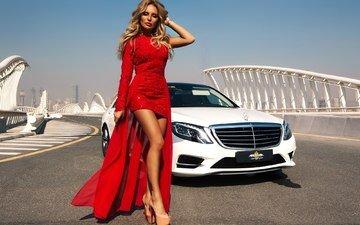 девушка, платье, блондинка, модель, ножки, красное, мерс, алина ильина