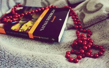 red, beads, book, hollywood, charles bukowski