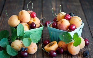фрукты, черешня, ягоды, вишня, ежевика, абрикосы