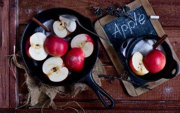 фрукты, яблоки, красные, сахар, натюрморт, половинки