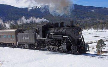 железная дорога, рельсы, поезд, вагоны, паровоз