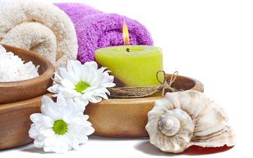 цветы, ракушки, ромашки, свеча, полотенце, спа, цветы, соль, расслабся, дейзи, camomile