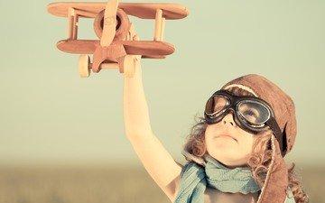 самолет, пилот, шлем, игрушка, ребенок, игры