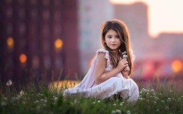 настроение, дети, девочка, ребенок, цветочки