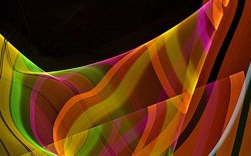полосы, абстракция, линии, лучи, цвет, полоса, изгиб