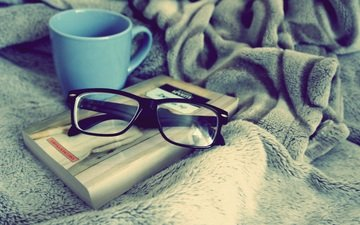 glasses, cup, book, blue, comfort