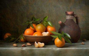 фрукты, кувшин, мандарины, натюрморт, цитрусы, миндаль