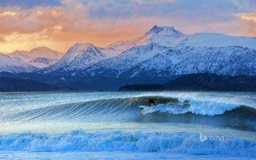 небо, горы, волны, море, сша, серфинг, аляска, iceman, дон макнамара, качемак-бэй