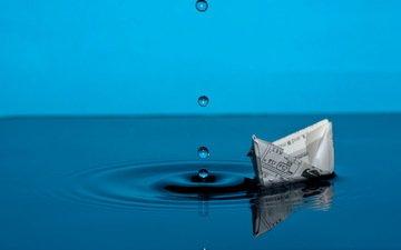 вода, капли, бумага, лодка, кораблик