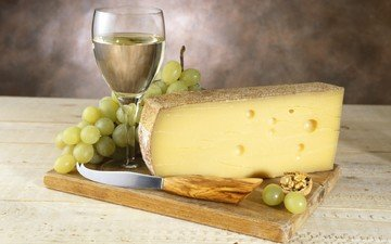 виноград, стол, бокал, сыр, вино, белое, нож, орех, дощечка