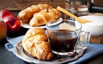 кофе, завтрак, сливки, кубок, круасан, круассаны