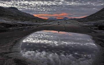 небо, облака, озеро, горы, закат, норвегия, норвегии, jotunheimen national park