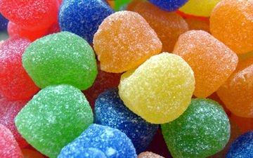 макро, конфеты, разноцветный, сладкое, конфета, мармелад