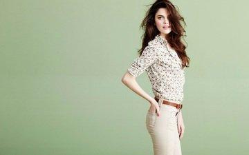 девушка, фон, поза, взгляд, модель, ремень, брюки, алехандра алонсо