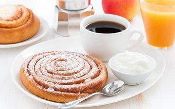 кофе, завтрак, сливки, кубок, сок, булочка