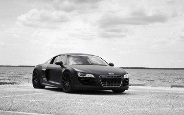 черная, ауди, тюнинг, блака, автомобиль audi r8