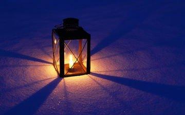 свет, снег, огонь, фонарь, свечка, свеча, фонарик