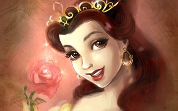 dress, smile, rose, hairstyle, beauty and the beast, belle