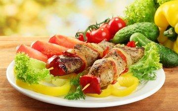 зелень, овощи, мясо, помидоры, шашлык, помидор, перец